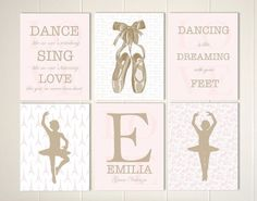 Little girls room decor, baby girl nursery, girls wall art, ballerina room, ballerina nursery art, toile nursery, girls quotes, set of 6