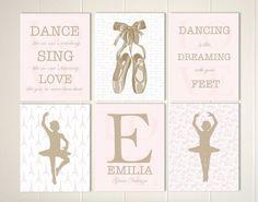 Little girls room decor, baby girl nursery, girls wall art, ballerina room, ballerina nursery art, toile nursery, girls quotes, set of 6