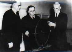 Nikola Tesla with Westinghouse Engineers explaining his model of Rotating Magnetic Field
