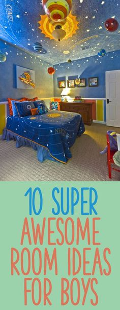10 Super Awesome Room Ideas For Boys Bedrooms aren't what they used to be. Check out these 10 super awesome room ideas for boys that we would have gone crazy for, when we were young. Kid Spaces, Boys Space Rooms, Space Boy, Desk Space, Kids Decor, Boy Decor, Boys Room Decor, Playroom, Nursery