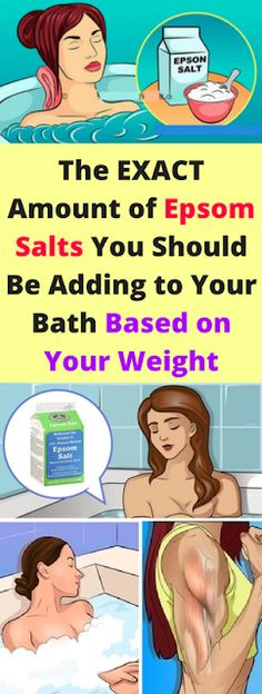 January The EXACT Amount, Of Epsom Salts You Should Be Adding, To Your Bath Based on Your Weight! Although Epsom salt looks like salt, it is not. It's actually magnesium sulfate- a chemical sulf… Liver Detoxification, Magnesium Sulfate, Body Cleanse, Salt Detox, Epsom Salt Bath Detox, Muscle Recovery, Mouthwash, Dry Brushing, Natural Remedies