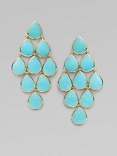 IPPOLITA Turquoise+&+18K+Yellow+Gold+Cascade+Earrings