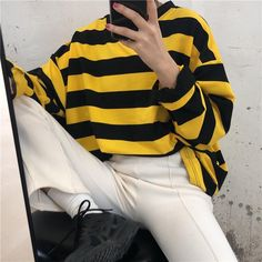 Tumblr Aesthetic Clothes, Aesthetic Shirts, Outfits With Striped Shirts, Yellow Shirts, Loose Shirt Outfit, Loose Shirts, Long Sleeve Shirts, Yellow Black, Korean Fashion