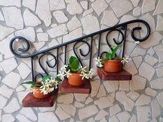 mensola rustica ferro battuto legno parete rustico giardino cucina nero noce