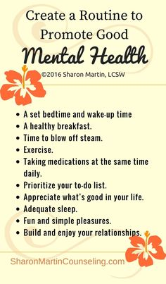 Create a routine to promote good mental health. Stress and anxiety. Mental Health Therapy, Good Mental Health, Mental Health Awareness, Fitness Inspiration, Sharon Martin, Health Tips, Health And Wellness, Health Fitness, Yoga Fitness