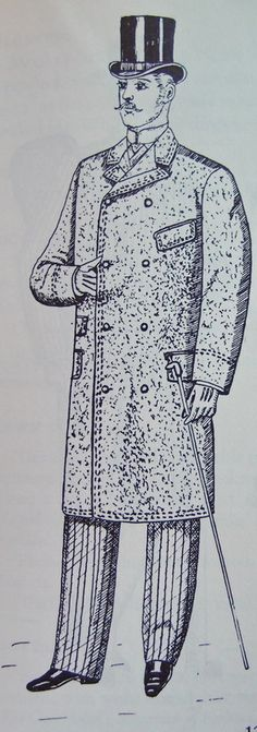 CHESTERFIELD COAT - a long, tailored overcoat that rose as an alternative to the highly shaped coats that came before it. (notice the box like figure) (Crinoline Period)