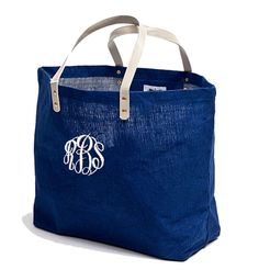 Monogrammed Jute Tote Bag in Navy -  Personalized Jute Tote by PremiereEmbroidery on Etsy https://www.etsy.com/listing/199372695/monogrammed-jute-tote-bag-in-navy