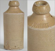Victorian stoneware ginger beer bottle: R. White, London