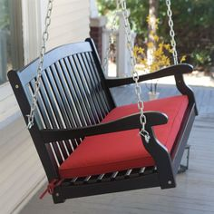 Black 5 Ft Wooden Porch Swing With Brick Red Cushion And Hardware