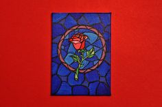 Beauty and the Beast Rose Stained Glass Icon by CandleJarsByEmily