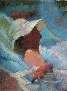 "Sally Strand, artist  ""Poolside, White Hat"" 12x9, pastel"