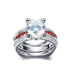 Luxury Female Red Ring Set Bridal Sets High Quality Gold Filled Jewelry Vintage Wedding Rings For Women Girlfriend Gift