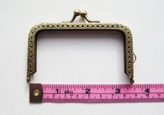 8.5cm/3.375inch brass rectangular purse frame by SugarCarousel