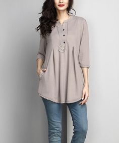 This Gray Button-Front Side-Pocket Tunic is perfect! #zulilyfinds