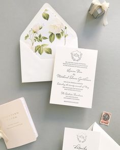 WE ♥ THIS!  ----------------------------- Original Pin Caption: letterpress and floral wedding invite
