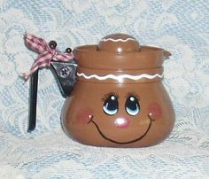 Handpainted Gingerbread Coffee Pot by llister on Etsy, $5.99
