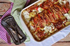 Zsebes karaj vele sült tejfölös burgonyával | Rupáner-konyha Meatloaf, My Recipes, Lasagna, Bacon, Pork, Food And Drink, Keto, Ethnic Recipes, Happy