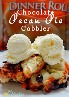 Chocolate Pecan Pie Cobbler with Rhodes Rolls. Try it topped with vanilla ice cream!