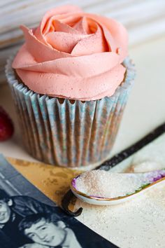 A very nice Strawberry Fields Forever: strawberry cupcake with a homemade strawberry jam filling.