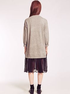 Dahlia Violetta Grey Long Jumper Dress with Chiffon Skirt