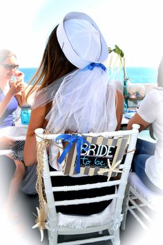 Nautical Bride Sailor hat with veil. Perfect for a nautical bridal shower or…