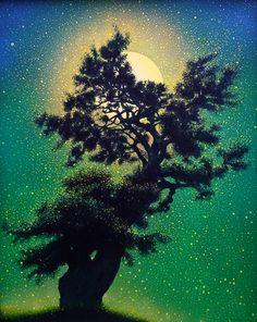moon and tree, Celtis sinensis, 2015 work