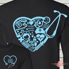 Nursing Student Nurse Collage RN LPN Monogrammed Personalized by AutumnReeseDesigns on Etsy Design Your Shirt, Shirt Designs, Tee Design, Scrubs Funny, Nursing Students, Student Nurse, Nursing Schools, Nurse Bag, Cute Nurse