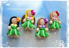 polymer clay boating ideas | Hula Girl Polymer Clay Charm Bead, Scrapbooking, Bow Center, Pendant ...