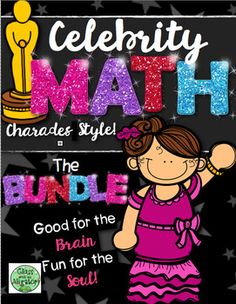 Celebrity Math Bundle Math Review Charades Activity Shapes Money Time Addition Subtraction Word Problems Columns Rows Fractions