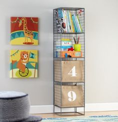 This would go with the look in Troy's room. On the Grid Bookcase (Grey)    The Land of Nod #featheryournest