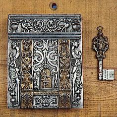 Key and lock entrance. Engraved, gilded iron - France.  Date: 1573; 16th century, Renaissance period