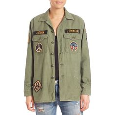 MADEWORN John Lennon Army Jacket ($457) ❤ liked on Polyvore featuring outerwear, jackets, apparel & accessories, army green, army jacket, olive army jacket, field jacket, green jacket and cotton field jacket
