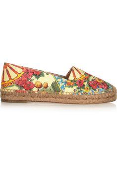 Dolce & Gabbana|Printed brocade espadrilles|NET-A-PORTER.COM