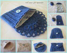 Monedero a crochet. El tutorial lo encuentras en : http://www.tejiendoperu.com/crochet/monedero-o-bolso-de-una-pieza/