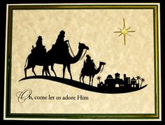 Christmas card ... quick, easy, beautiful ... Wise Men headed to Bethlehem ... sandy looking paper base ... Stampin' Up!