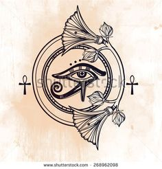 Hand-drawn vintage tattoo art. Vector illustration, frame symbol of pharaoh…