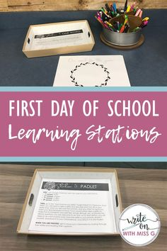 Engage students from the start with these first day of school learning stations that include the syllabus, expectations, get-to-know-you activities, and more! Middle School Classroom, Math Classroom, School Fun, School Ideas, Future Classroom, Classroom Ideas, High School First Day, Beginning Of The School Year, First Day Of School Activities