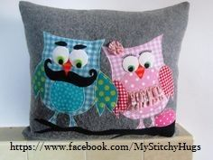Mr & Mrs Owl, on their branch . Childrens Gifts, Mr Mrs, No Frills, Cuddling, Diaper Bag, Recycling, Cushions, Throw Pillows, Wool