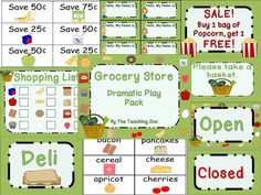 Grocery Store Dramatic Play Pack by The Teaching Zoo!  Everything you need to have a Grocery Store Dramatic Play Center in your classroom!!!!