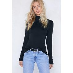 Nasty Gal Neck and Call Turtleneck Sweater (€9,73) ❤ liked on Polyvore featuring tops, sweaters, black, turtle neck sweater, ribbed knit sweater, turtle neck top, rib knit top and polo neck sweater