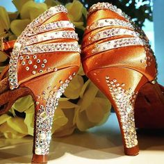 Competitive Ballroom Dancing is a beautiful world of dazzling costumes, gorgeous hairstyles, and perfectly applied makeup designed to capture the spotlight. These Latin Dance Shoes are sure to make an amazing impression! Latin Dance Shoes, Latin Dance Dresses, Dancing Shoes, Ballroom Dance Dresses, Ballroom Dancing, Victorian Shoes, Custom Dance Costumes, Salsa Shoes, Crystal Shoes