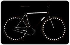 Rydesafe.com  Glow in the dark decals for your bicycle or anything else you may want to glow at night!