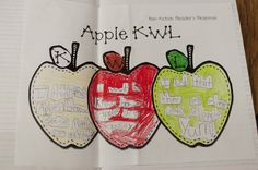"""After reading a few short non-fiction books about apples, we filled out the """"What You LEARNED"""" apple and had the kids complete their own KWL to keep in their Reader's Response Journals. They LOVED this activity! I told them to choose 1 thing from each apple to write down"""
