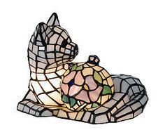 Lampada da tavolo stile Tiffany in vetro e metallo Cat - H 19 cm