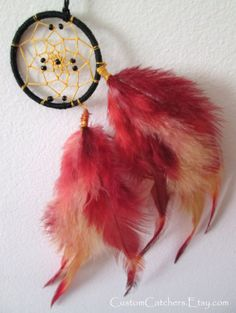 Phoenix Feather Mini Dreamcatcher - Keychain - Purse- Accessory - Ombre Feathers - Hand Dyed Feathers - Bright Colors - Boho - Hippi