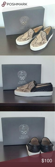 Vince Camuto Snake Skin Flats NEW & NEVER WORN :) Mix of Snake skin and quilted black pleather Vince Camuto Shoes Flats & Loafers