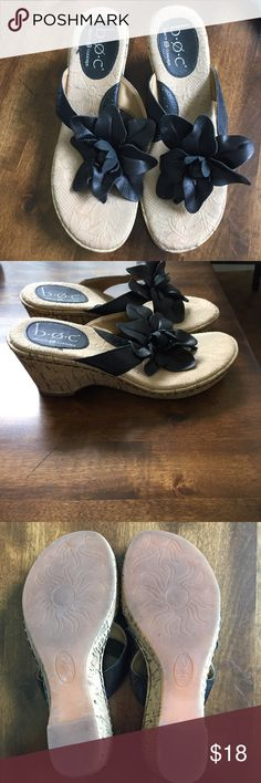 Boc flower wedge sandals Size 7. Black. Excellent condition. A10054 b.o.c. Shoes Wedges