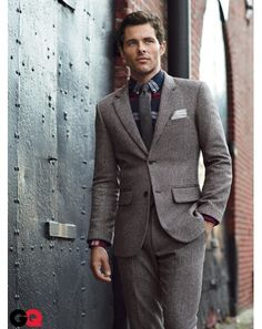 Tweed well fitted #suit with flanell-look shirt, #stylish