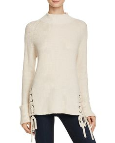 66.60$  Buy now - http://vidkh.justgood.pw/vig/item.php?t=zis90i37609 - FRENCH CONNECTION Freedom Fringe Knits Lace-Up Sweater