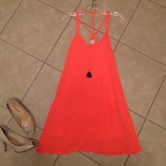 Dress Bright coral/orange dress. Only worn ONE time! Small ripple in bottom front that is barely noticeable. loveriche Dresses